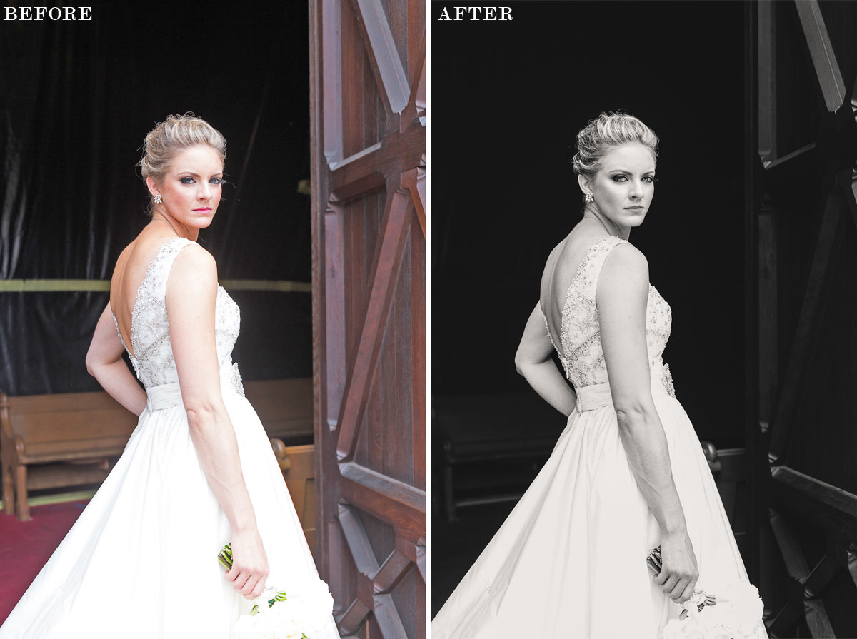 before and after photography bridal