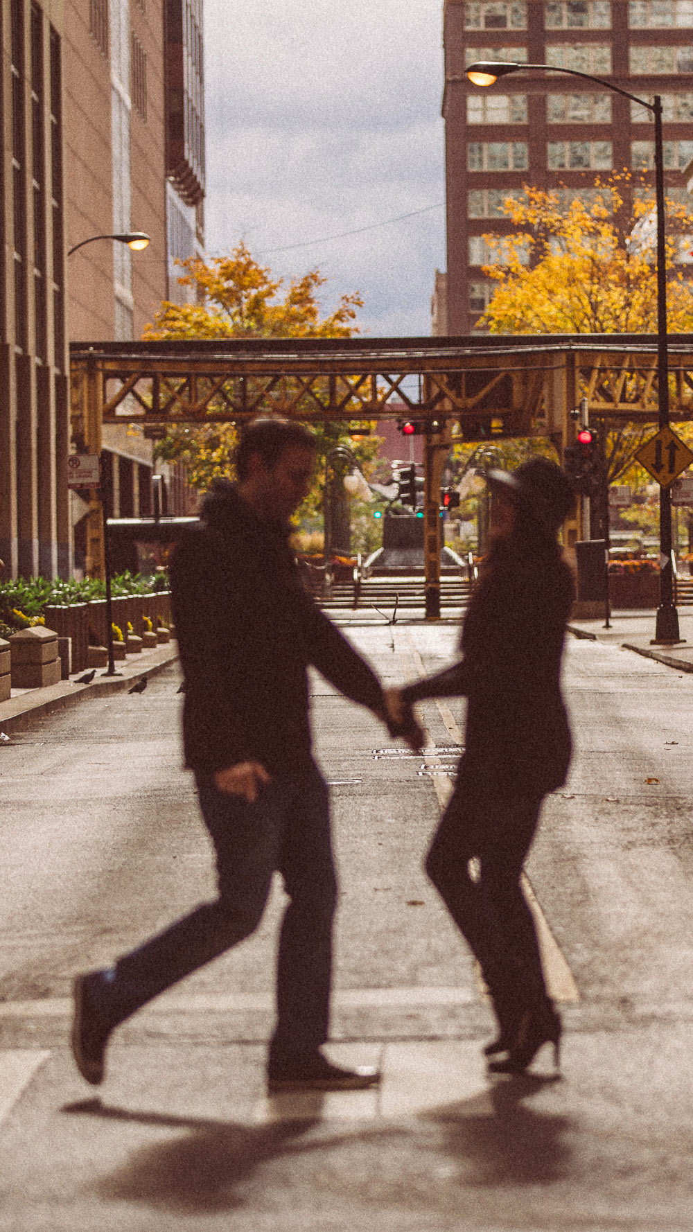 crossing street cute engagement chicago